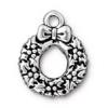 Christmas Wreath Charm Antique Silver
